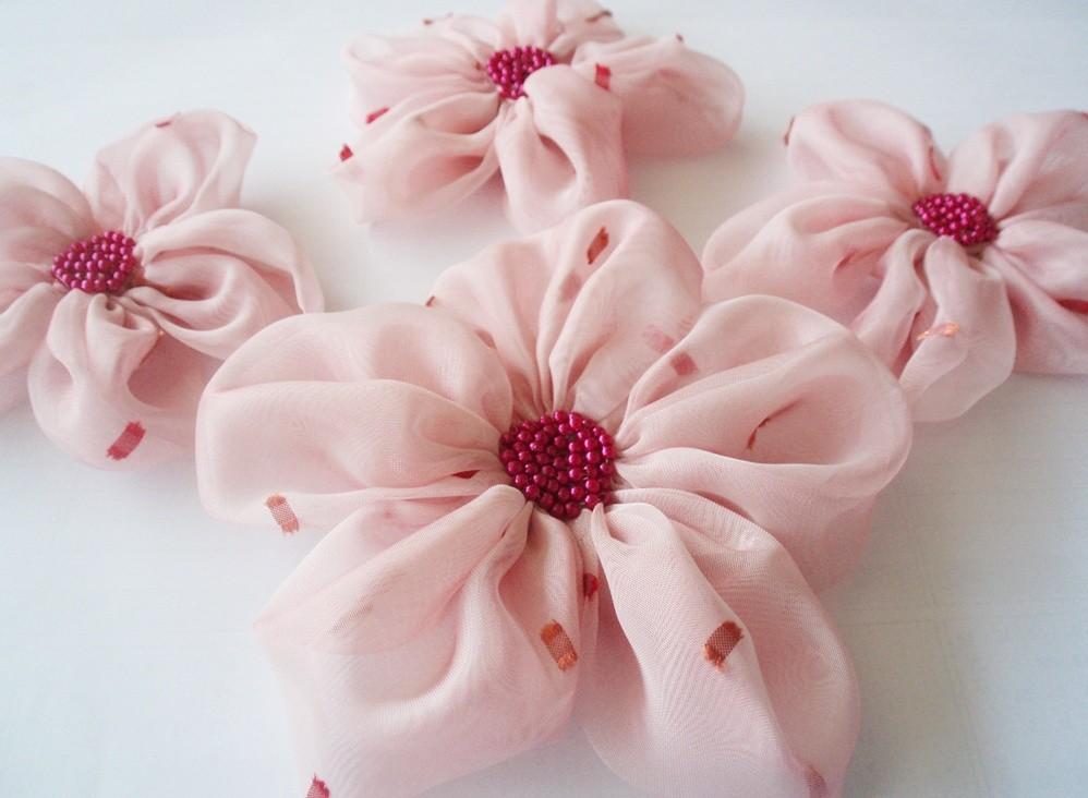 Pink Chiffon Flowers Handmade Appliques Embellishments (4 pcs)