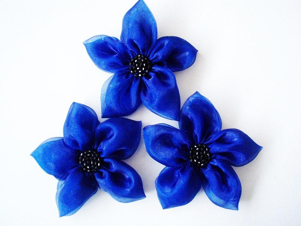 Cobalt Blue Flowers Handmade Appliques Embellishments(3 pcs)