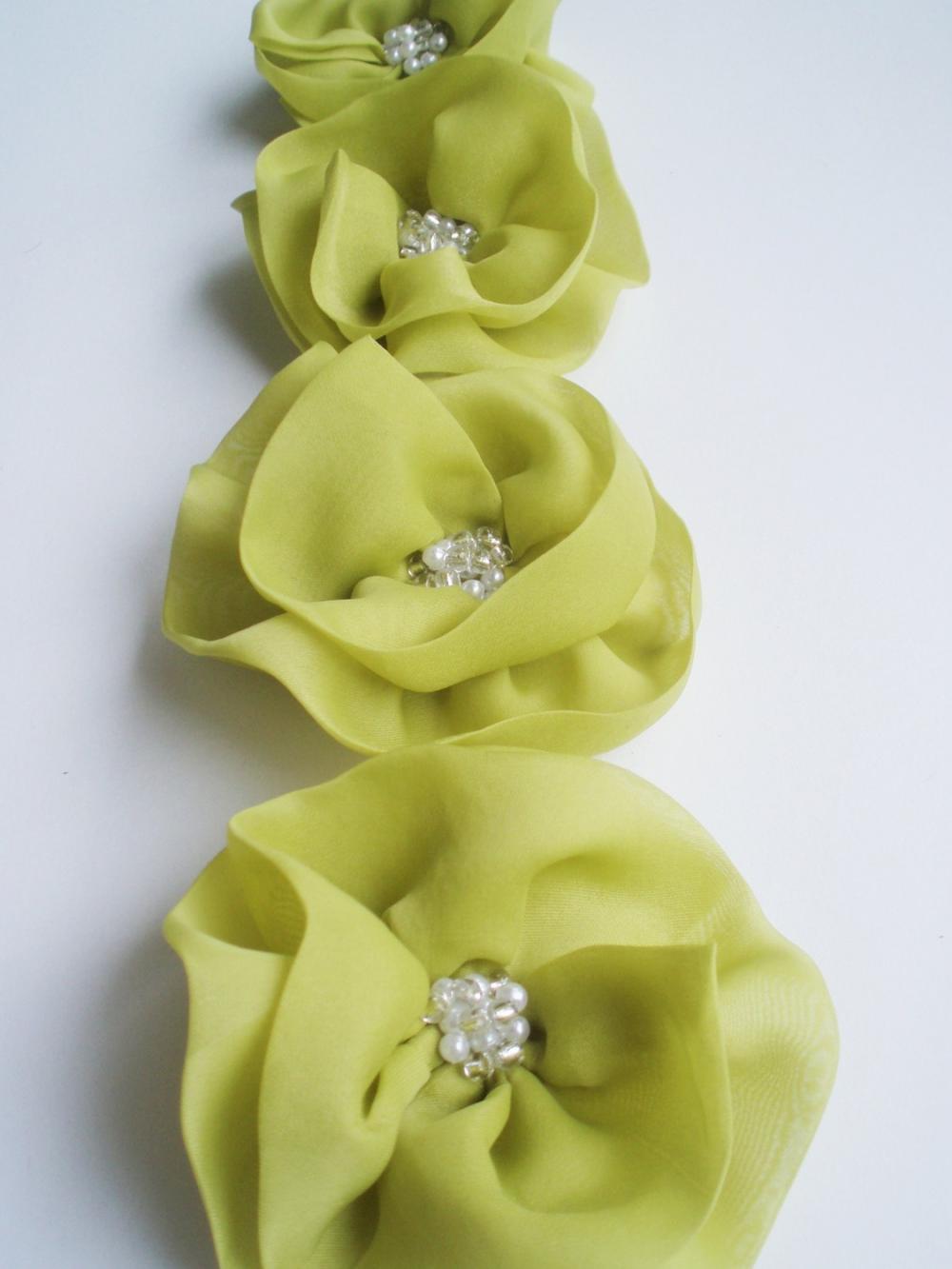 Lime Flowers Handmade Appliques Embellishments(4 pcs)
