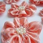Handmade Peach Ribbon Flower Appliques Embellishments (6pcs)