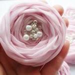 Pink Chiffon Roses Handmade Appliques Embellishments(5 pcs)