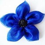 Cobalt Blue Flowers Handmade Appliq..